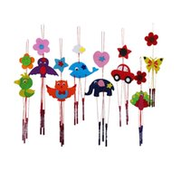 Wholesale Old Wood Crafts - Wholesale-Colorful DIY Campanula Wind Chime Kids Children Kindergarten Manual Arts and Crafts Toys Kids Educational Toy