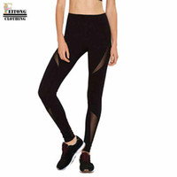 Wholesale Legging Transparent Sexy - Wholesale- FEITONG 2017 Fashion Black Mesh Transparent Women High Waist Sexy Skinny Leggings Patchwork Mesh Push Up Legging&30
