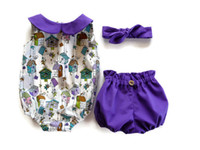 Wholesale Newborn boutiques set Baby Girl Summer Fantasy purple Clothes Romper Shorts Bow knot Headband Sunsuit fairy tale Outfit Clothes