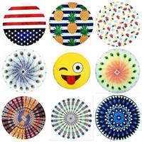 amerikanische tapisserie groihandel-Rundes Mandala-Badetuch 44 Arten Amerikanische Flagge Ananas Emoji-Mandala-Tapisserien Boho Chiffon Wraps Bikini Cover Up OOA1597