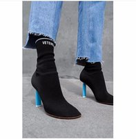 Wholesale Designer Shoes Boots Ladies - New Stretch Sock Knit Boots Women Jersey Ankle Boots High Heels Ladies Thight Slim Boots New Brand Designer Prom Party Shoes