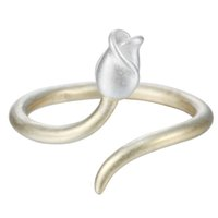 Wholesale 925 Silver Rose Flower Ring - 5pcs lot Hot Sale Pure 925 Sterling Silver Jewelry Matte Golden Flower Buds Rose Adjustable Ring Size Anillo de plata