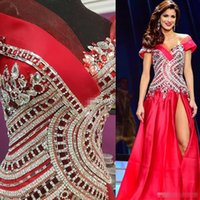 Wholesale Dresses Made Usa - Luxury Crystals Miss USA Pageant Evening Gowns 2017 Off Shoulder Beading High Side Split Prom Dresses Custom Made Occasion Formal Wear Cheap