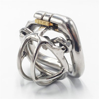Wholesale steel spikes chastity - Male chastity devices 35mm length stainless steel small chastity cage spiked short cock cage applied hinged curve base ring