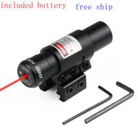11mm rayları monte eder toptan satış-Taktik Red Dot Lazer Sight avcılık tabanca ve 11mm veya 20mm raylı Airsoft Guns için 11/20mm Dağı Raylı ile Doğru 650nm
