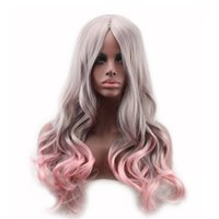 Wholesale wig gray long - Gradient color two tone heat-resistant long wavy wig ombre grey gray pink wigs synthetic hair for women WoodFestival