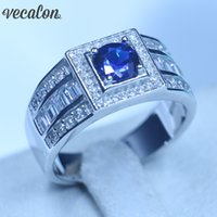 Wholesale tanzanite rings for sale - Group buy Real Soild Sterling silver wedding Band rings for Men ct Blue Tanzanite Cz Male Party Finger Ring Fine Jewelry