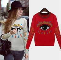 Wholesale Europe Winter Coat - Wholesale-Winter coat new fashion women's long-sleeved round neck embroidered eyes pullover women Europe and America causal sweater DM1026