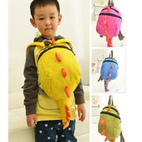 çanta çocuk dinozoru toptan satış-Bebek Çocuk Dinozor Sırt Çantası Çanta Çocuk Erkek Kız Hayvan Karikatür Schoolbag Omuz Çantaları 4 Renkler W21cm H26cm PX-B27