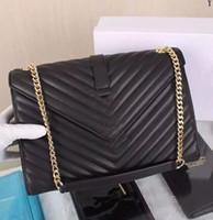 Wholesale Large Envelope Handbags - 2017 New Arrival Monogramme Leather Twill Chain Envelope Bag Women Classic Double Chain Front Flip Handbag Large Bag