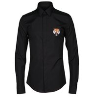 Wholesale tiger head design for sale - Group buy New Autumn Arrival Super Quality Exquisite Tiger Head Badge Embroidery Design Men s Long sleeved Fashion Shirt Hot Sale