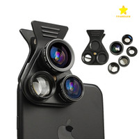Wholesale Wholesale Cell Phone Kits - Cell Phone Camera Lens Kit 5in1 Professional HD Camera Lens 2.5X Telephoto Len 180° Fisheye 0.62X Wide Angle 15X Macro Len