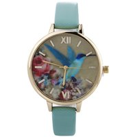 Wholesale Thin Leather Watch For Women - Retro Blue bird design watches Student fashion dress watch Ladies casual leather wristwatches Thin strap quartz wristwatch for women