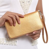 Wholesale Girl Cell Phone Wallet - Women Alligator Leather Wallets Crocodile Purse Female Card Holder Luxury Money Dollar Bag Ladies Gold Long Walet Girls Wristlet