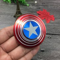 Wholesale Luxury Kids Wholesale - 2017 Luxury Fidget Speelgoed Hand Spinner Metalen Vinger Stress Spinner Captain America Shield