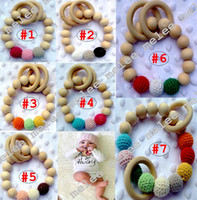 Wholesale Wooden Beads Wholesale Free Shipping - INS Baby Infant Rainbow Wooden Bracelets Baby Soothers Teether Infant Wooden Beads Teethers Beads Handmake Teething Baby Toys Free Shipping
