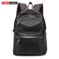 Wholesale waxed backpack - Wholesale- MAGIC UNION Oil Wax Leather Backpack Casual Bags & Travel Backpacks For Men Western College Style Leather School Backpack