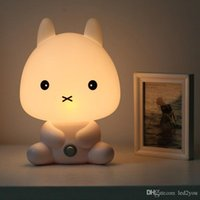 Wholesale Animal Night Lights Kids - NEW Baby Room Rabbit Bear Panda Dog Cartoon Animal Night Light Warm Lamp Children Night Sleeping Bed Room Lamp Best Gift For Kid