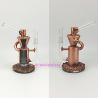 Wholesale copper functions - copper plating glass bong, recycler good function. 14.5mm male joint oil rigs .giving dome and nail.