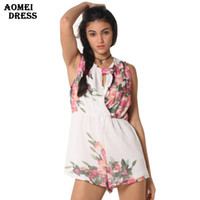 Wholesale Chiffon Short Cute Jumpsuits - Open Back chiffon floral romper womens Summer playsuits jumpsuit 2016 summer cute feminino vestidos female overalls Clothing