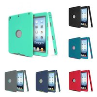 Wholesale Ipad Mini Carry Cases - Hybrid Armor Silicon PC Hard Shockproof Dustproof Kinds Safe Carry Defender Case Cover Skin For iPad mini 1 2 3 Shell
