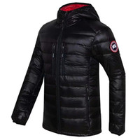 Wholesale Skiing Jacket Parka - High Quality CANADA New Winter Men's Down puffer jacket Casual Brand Hoodies Down Parkas Warm Ski Mens Coats Black Red 200