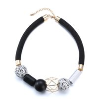 Wholesale White Black Geometry - Beaded Necklace Choker Women Hip Hop Jewelry Pendant European Style Classic Black White Fashion Vintage Geometry Chain