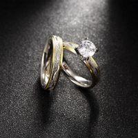 Wholesale Titanium Zircon Rings - Women Jewelry Titanium Steel Double Ring Zircon Stone Female Wedding Rings with Box Party Engagement Accessories wholesale RG-149