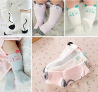 baby-gummisohlen großhandel-Babystrümpfe Socken Kätzchen Katze Ohren Gummi Punkte Sohlen Rutschfeste Neugeborenes Baby Mädchen Jungen Marke Design Kleinkind Rohr Socke
