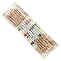 Wholesale Useful Set Steel Metal BBQ Barbecue Skewer Grill Kebab Needles Stick Wooden Handle Kitchen Needle Outdoor