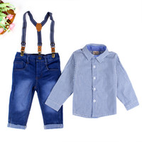 Wholesale Denim Trousers Shirt Fashion - Boys suspender trousers 2pc set striped long sleeve shirt+blue jeans with belt kids infants fashion casual denim pants outfits for 2-7T