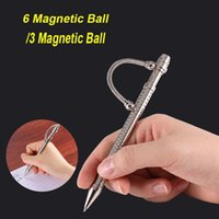 Wholesale Anti Magnetic - Think Ink Pen with 6 Magnetic Ball Fidget Pen 3 Magnetic Ball Magnetic Metal Pen ADHD Gift EDS Anti-stress Novelty Toy OTH446