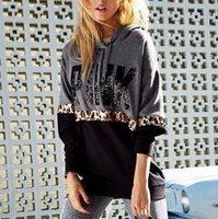 Wholesale Women S Leopard Sweatshirt Hoodies - New Design PINK printing long-sleeved women's sweater Casual Hoodies Apparel sudaderas Mujer sweatshirts clothing with Leopard Patchwork
