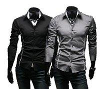 lässige, schmal geschnittene, stilvolle kleidung großhandel-Großhandels- 2016 nagelneue Art Entwurfs-Mens-Hemdqualitäts beiläufige dünne passende stilvolle Kleid-Hemden 3 Farben Größe: M ~ 3XL