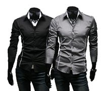 Wholesale Design Fitted Dress - Wholesale- 2016 Brand New style Design Mens Shirts high quality Casual Slim Fit Stylish Dress Shirts 3 Colors Size:M~3XL