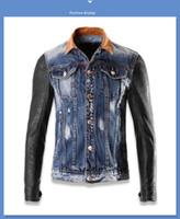 Wholesale Leather Jean Jacket Xl - Free shipping 2016 New Men Leather jacket High Quality PU Leather Splice jean Jacket Fashion Brand Skull Motorcycle Biker Male