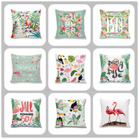 Wholesale Knitting Patterns Adults - New Design Bird Flamingo Pattern Pillow Case Linen Cotton Cushion cover Throw sofa Bed Pillow covers free shipping