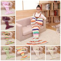 Wholesale Print Bags Wholesale - Kids Flannel Mermaid Tail Blanket 130*70cm Bowknot Pillow Sofa Sleeping Bag Leisure Nap Carpet Soft Bedroom Blankets OOA2874