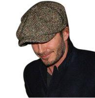 hollywoodlu erkekler toptan satış-2 adet HERRINGBONE TWEED GATSBY Kap Erkekler Yün Ivy Şapka Golf Sürüş Düz Cabbie Sekizgen kap Hollywood yıldız bere boina militar