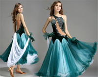 Wholesale foxtrot clothing online - High grade diamond ballroom dress women velvet Waltz Tango Foxtrot quickstep costume competition clothing standard ballroom dance skirt YL16