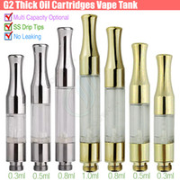 Wholesale Mini Stainless Steel - Top G2 BUD Touch 510 Cartridges Tank gold stainless steel drip tips WAX Thick Oil Vaporizer Atomizers CE3 O Pen vapor Mini cartomizers vape