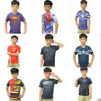 Wholesale Superhero Boys Shirts - 14 styles Kids Superhero 3D Short sleeved T-shirt Avengers Captain America Iron Man shirt sports quick dry Tees children clothes DHL C1850