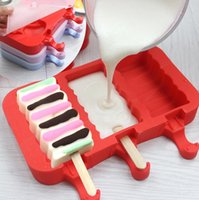 Wholesale Cartoon Silicone Molds - Home Made DIY Silicone Ice Cream Mold Frozen Ice Popsicles Mould DIY Cartoon Ice Cream Maker Popsicle Molds KKA1881