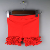 Wholesale Ruffle Leggings For Babies - red shorties baby girls ruffles all-matching leggings simple girl skinny cotton shorts kid beach shorties leggging gift for children value