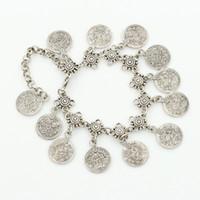 alte fußkettchen großhandel-XS-Art-Art, die alte Weisen mit Metallmünzen-Quasten-Fußkettchen-Goldsilber-Farben-Ketten-Großhandel wieder herstellt