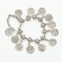 Wholesale wholesale ancient coins - XS Fashion Style Restoring Ancient Ways with Metal Coin Tassel Anklets Gold & Silver Colors Chain Wholesale