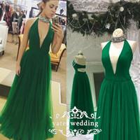 ingrosso vestiti di scollo profondo verde v-Elegante scollo alto Halter Prom Dresses Scollatura profonda Satin Tulle Lunghezza del pavimento Viola verde Royal Blue Abiti da sera Abiti formali