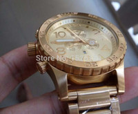 водонепроницаемые часы оптовых-NX мужские 51-30 хронограф A083-502 A083502 все золото из нержавеющей стали кварцевые часы 51 мм водонепроницаемый золотой циферблат + оригинальный футляр