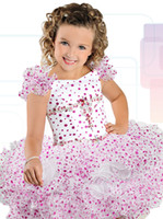 Wholesale Little Girl S Pageant Dresses - Ritzee Girls B741 Ruffled Sleeves Cupcake Pageant Dress for Little Girls 1950's Inspired Polka Dotted Tutu Dress for Party Custom Made