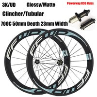 FFWD 50mm Wheelset Road Wheelset ruote della bicicletta Powerway R36 Hubs Full Carbon Fiber Bike Clincher Tubular 3K UD